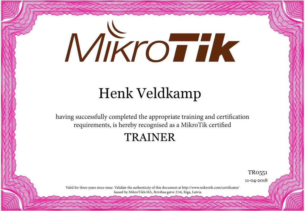 mikrotik trainer certificaat